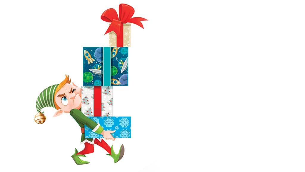 Lutin qui porte les cadeaux