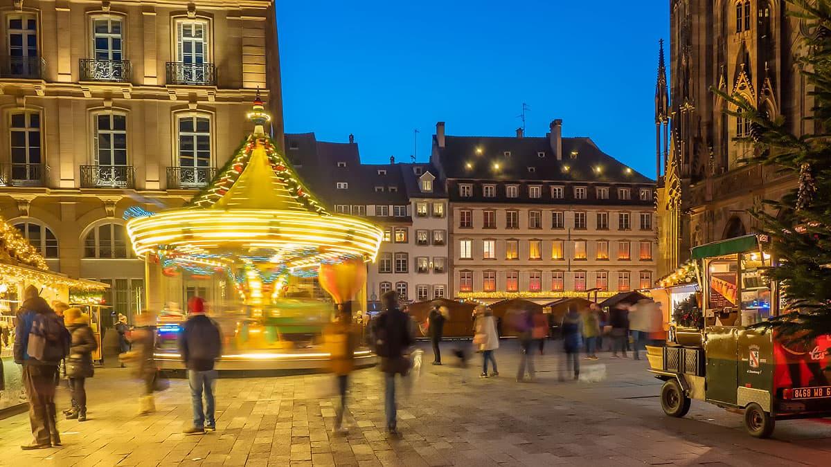 Manège de Noël à Strasbourg