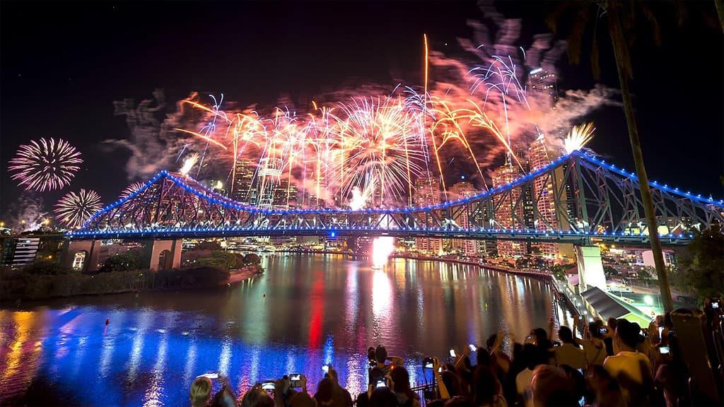 Feux artice fête de Noël Brisbane