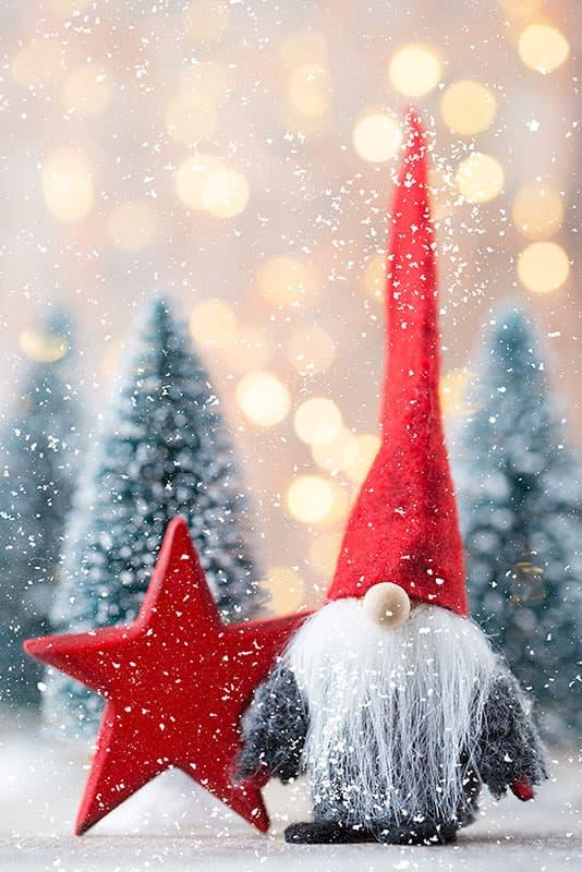 lutin du père Noël sous la neige