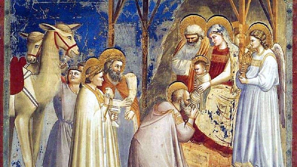 Les trois rois saints avec leurs dons Chapelle Scrovegni Giotto L'Adoration des mages