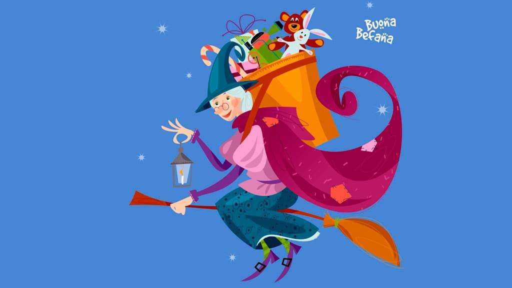 La Befana volant sur un balai pour distribuer les cadeaux aux enfants